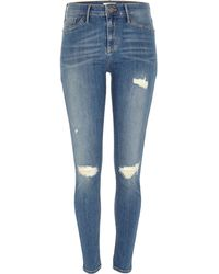 River Island Mid Wash Ripped Molly Jeggings - Lyst