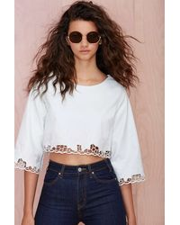 Nasty Gal Go with The Faux Crop Top - Lyst