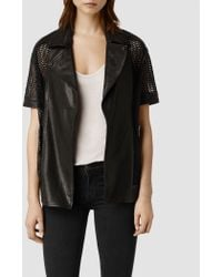 AllSaints Punched Leather Jacket - Lyst