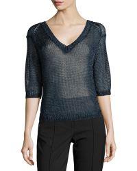 Halston Heritage V-Neck Open-Mesh Sweater blue - Lyst