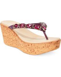 Callisto Risky Jewel Platform Wedge Thong Sandals - Lyst
