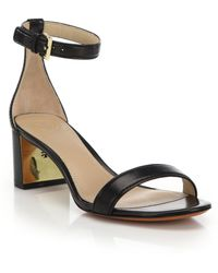 Tory Burch | Cecile Leather Mid-heel Sandals | Lyst