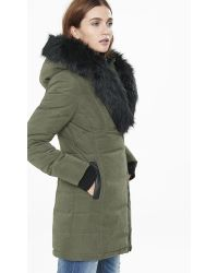 Express Olive Extreme Faux Fur Puffer Coat - Green