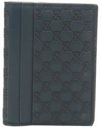 Gucci Blue Ssima Leather Bi-fold Card Wallet - Lyst