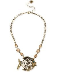 Betsey Johnson Brass-Tone Fish Frontal Necklace - Lyst