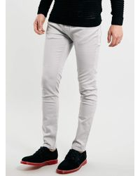 Topman Light Grey Stretch Skinny Jeans - Lyst