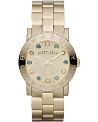 Marc By Marc Jacobs Amy Matte Yellow Golden Watch with Crystals - Lyst
