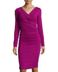 Diane Von Furstenberg Bentley Ruched Wrapstyle Dress - Lyst