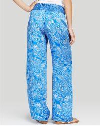 Moon & Meadow - Paisley Wide Leg Silk Trousers - Lyst