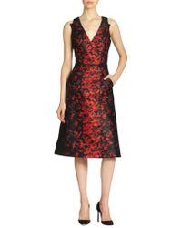 Carolina Herrera Floral Print Dress - Lyst