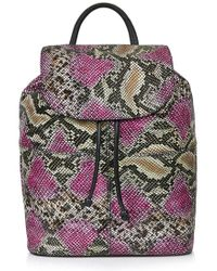 Topshop Snakeskin Print Leather Backpack - Lyst