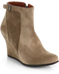 Lanvin Suede Wedge Ankle Boots - Lyst
