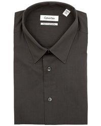 Calvin Klein Solid Charcoal Gray Pima Cotton Dress Shirt - Lyst