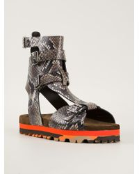 MSGM Snakeskin Effect Gladiator Sandals black - Lyst
