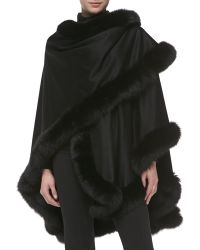 Sofia Cashmere Fox Furtrimmed Cashmere Ucape - Lyst