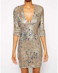 Tfnc Body-conscious Sequin Dress with Deep Plunge Neckline - Lyst