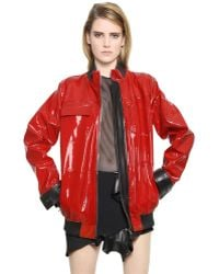 Anthony Vaccarello Nappa & Patent Leather Jacket - Lyst