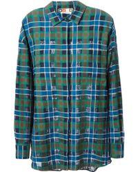 MSGM Plaid Oversize Shirt - Lyst