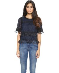 Rebecca Taylor Tile Lace Ruffle Top - Navy - Lyst