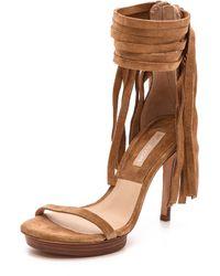 Michael Kors Collection Daphne Fringe Sandals  Camel - Lyst