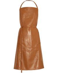 Tomas Maier Wrap-Around Leather Dress - Lyst