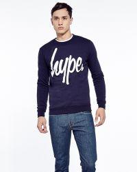 Hype - . Navy Crew Neck Sweatshirt With White Script - Lyst
