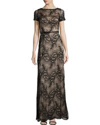 Catherine Deane Short-Sleeve Belted Lace Dress gray - Lyst