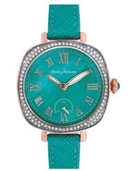 Tommy Bahama - 'lokelani' Crystal Bezel Leather Strap Watch - Lyst