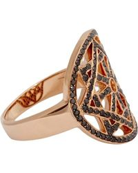 Pamela Love Black Diamond  Rose Gold Arch Ring - Lyst
