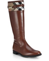 Burberry Dougal Leather & Check Canvas Knee-High Boots - Lyst