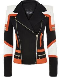 Balmain Jersey Colour Block Biker Jacket - Lyst