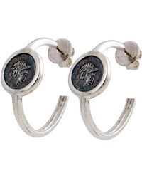 1884 Collection - Legacy Vivace Small Silver Coin Hoop Earrings - Lyst