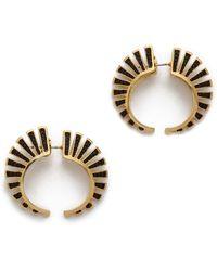 Noir Jewelry - Front To Back Hoop Earrings - Gold/Black - Lyst