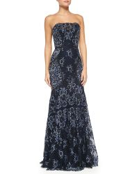 Carolina Herrera Strapless Denim Lace Dress - Lyst