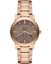 Burberry Rose Gold-tone Stainless Steel Chronograph Watch - Lyst