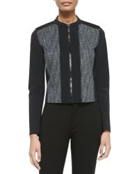 Elie Tahari Pearson Zip-front Mixed Media Jacket - Lyst