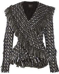 Lanvin Frayed Bouclétweed Peplum Jacket - Lyst