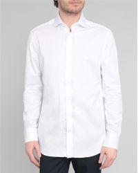 Hackett White Twill Slim-Fit Poplin Shirt - Lyst