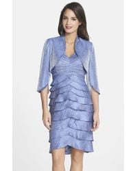 Adrianna Papell Shutter Pleat Washed Satin Dress & Jacket - Lyst