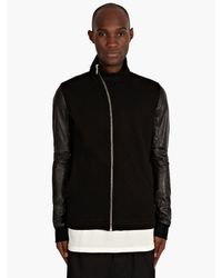 DRKSHDW by Rick Owens Mens Black Cotton and Leather Zip Sweatshirt - Lyst