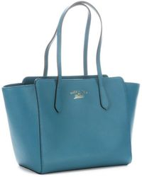 Gucci Deep Cobalt Leather Swing Small Tote - Lyst