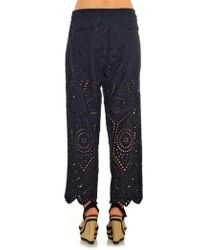 Zimmermann - Riot Eyelet Cropped Pants - Lyst
