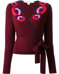 Diane Von Furstenberg Intarsia Wrap Style Cardigan - Lyst