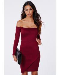 Missguided Vita Scuba Asymmetric Hem Bardot Bodycon Dress Oxblood - Lyst