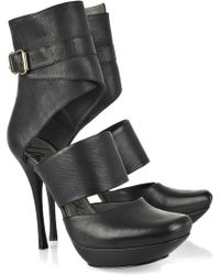 Lanvin Cutout Leather Ankle Boots - Lyst