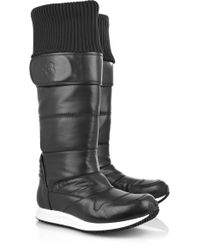 Y-3 Leather and Shell Snow Boots - Lyst