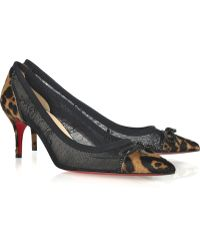 Christian Louboutin Souris 70 Lace and Calf Hair Pumps - Lyst
