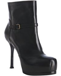 Saint Laurent Black Leather Tribtoo 80 Platform Booties - Lyst