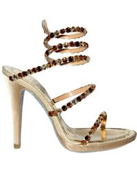 Rene Caovilla 115mm Silk Satin Swarovski Snake Sandals - Lyst