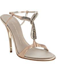 Giuseppe Zanotti Blush Metallic Leather Crystal T-strap Sandals - Lyst